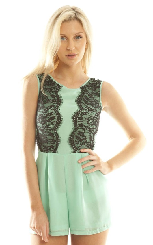 Addy Sheer Playsuit in Mint