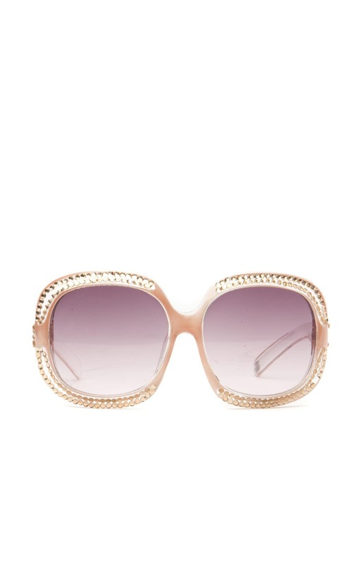 Clementina Double Diamante Edged Sunglasses in Dusky Pink