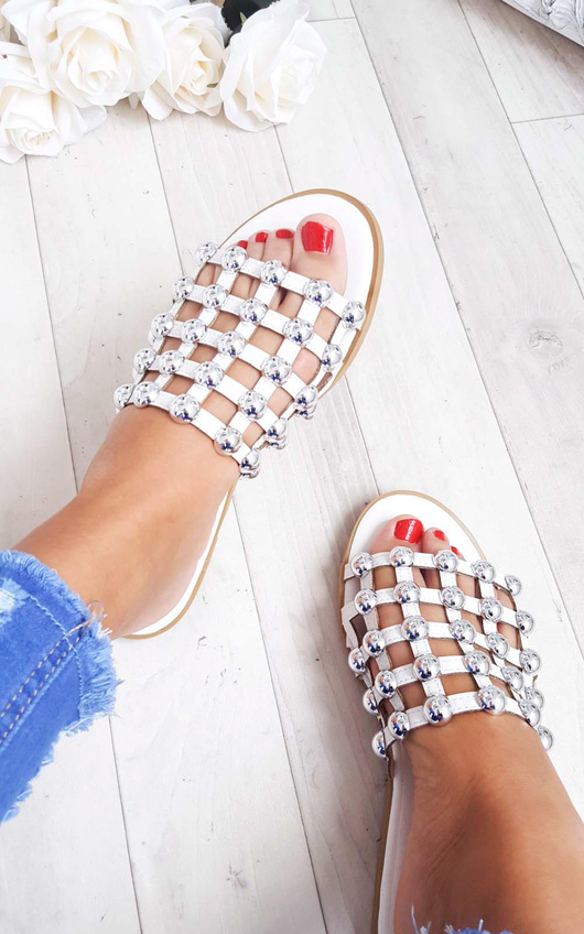 Luisa Studded Caged Open Toe Sliders