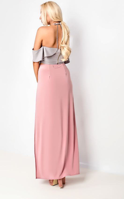 6739209c7 Lovato Double Thigh High Split Maxi Skirt in Rose | ikrush