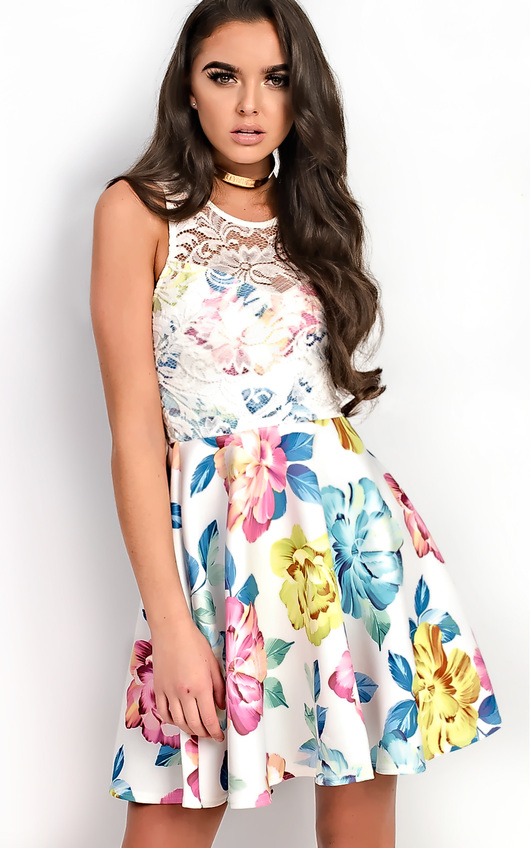 Fely Floral Lace Skater Dress