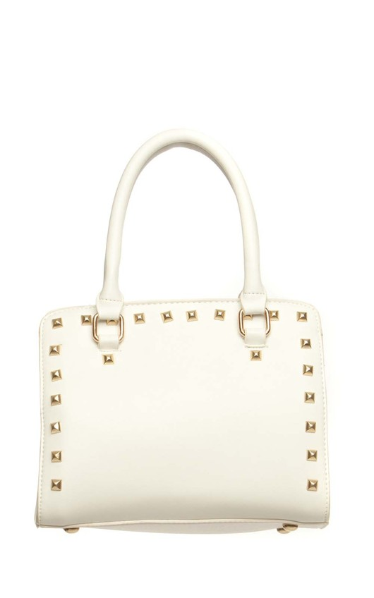 Karen White Studded Handbag