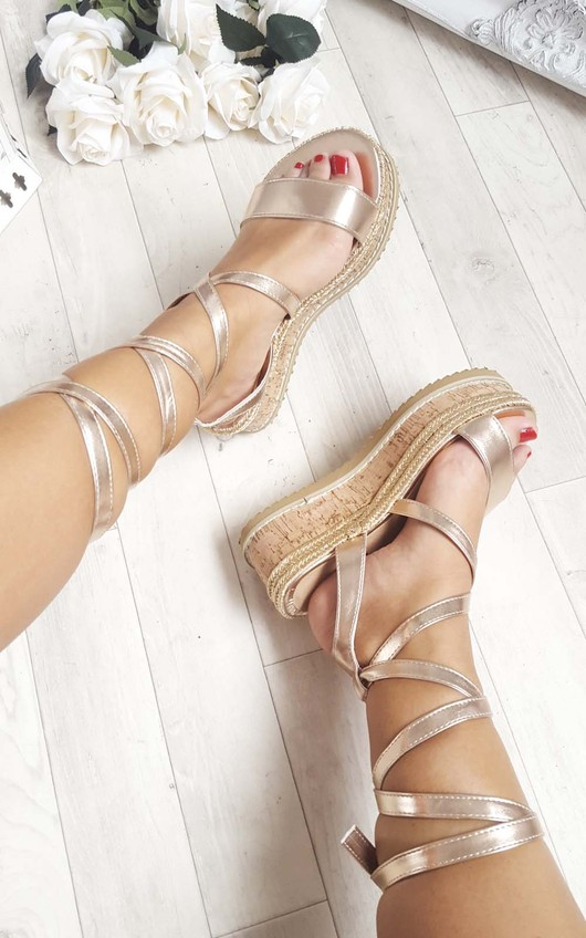 Erynn Cork Strappy Rose Gold Wedges