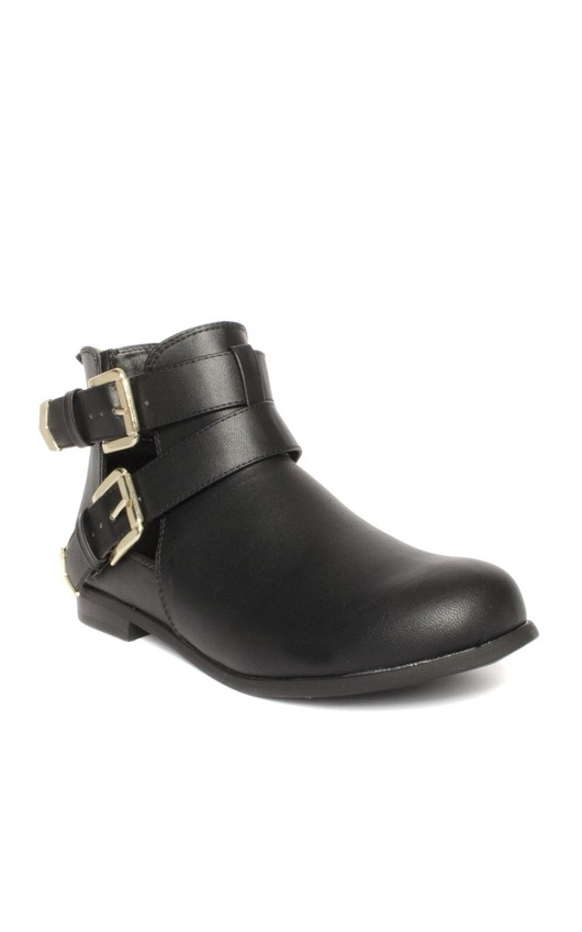 Mel Black Leather Cut-Out Ankle Boots
