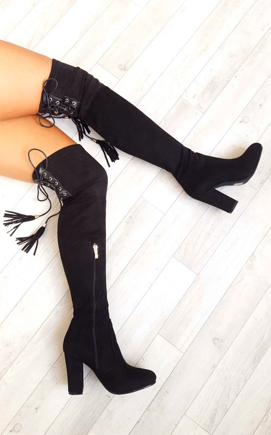 Amelia Faux Suede Tie Knee High Boots