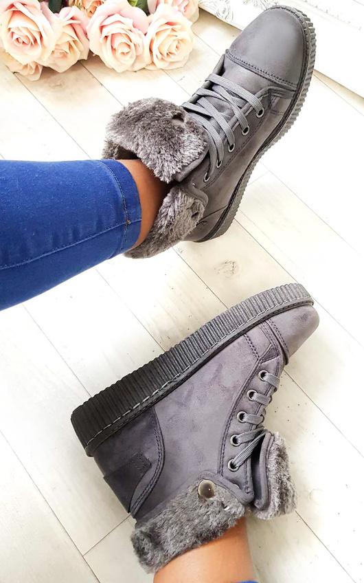 Layla Faux Suede Hi-Top  Platform Boots