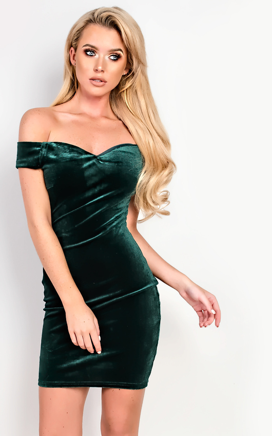 Monique Velour Off Shoulder Bodycon Dress