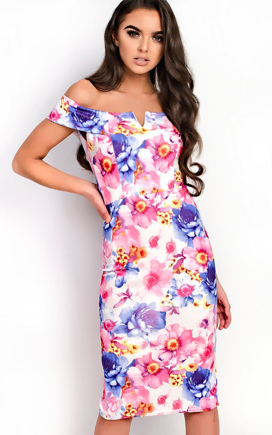 Emile Bardot Floral Midi Dress