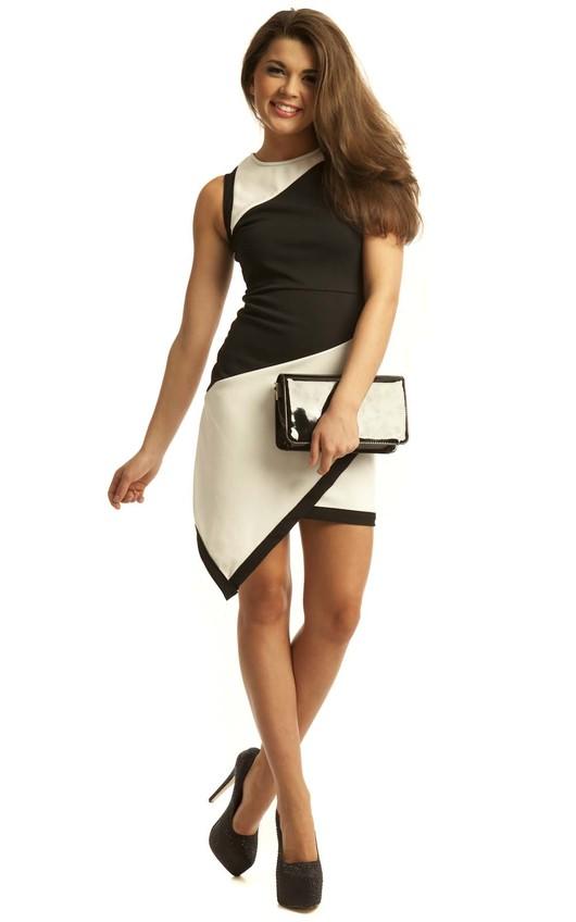 Gracie Mesh Asymmetric Bodycon Dress