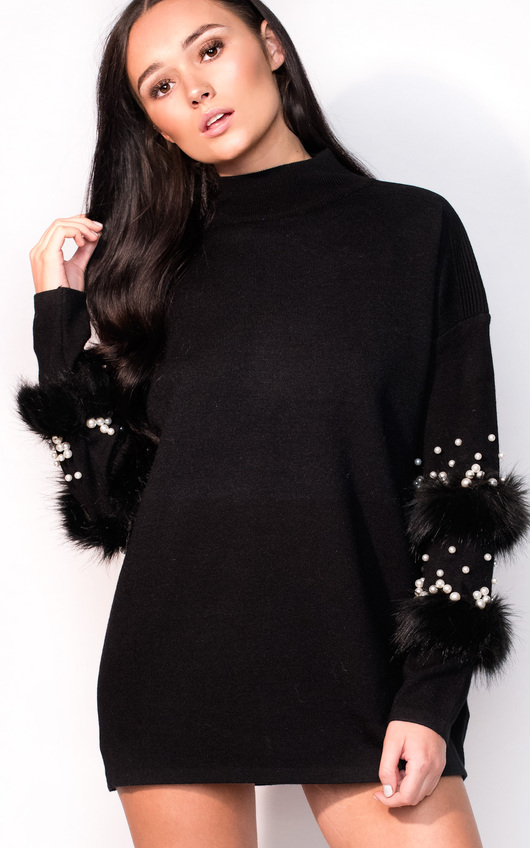 Poppie Faux Fur Knitted Jumper Dress
