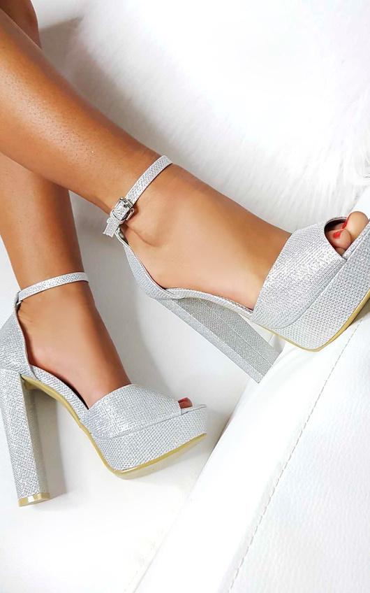 Kirti Peep Toe Block High Heels