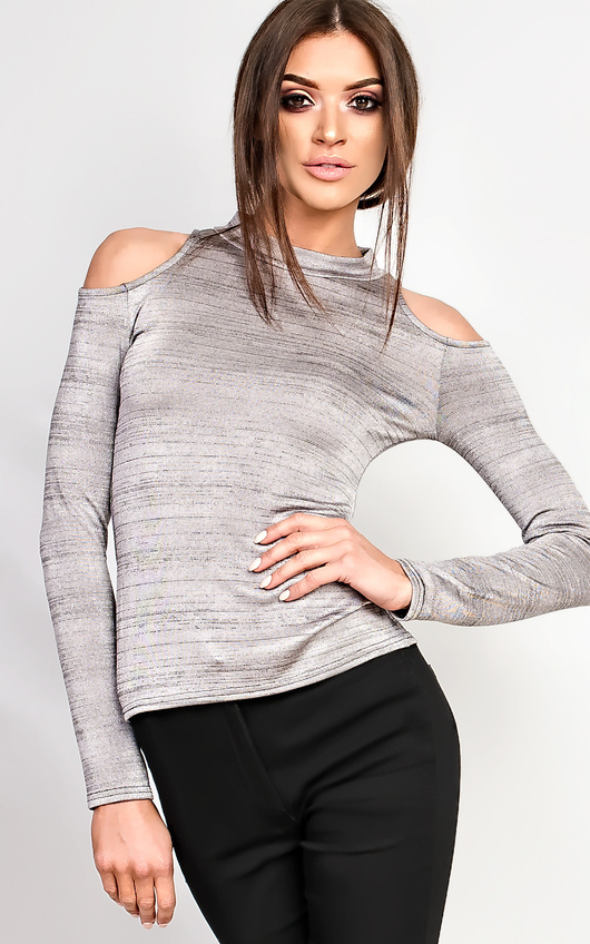 Marietta High Neck Cold Shoulder Top