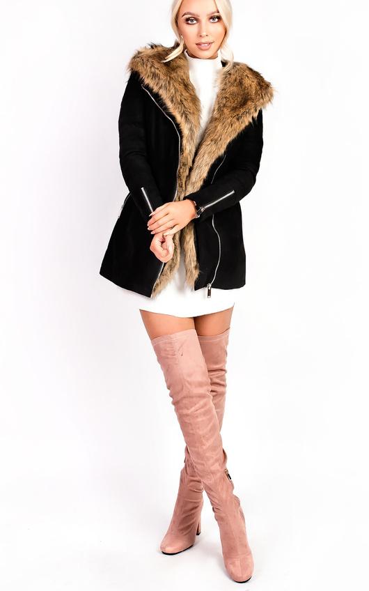 Zoey Faux Suede Fur Longline Jacket