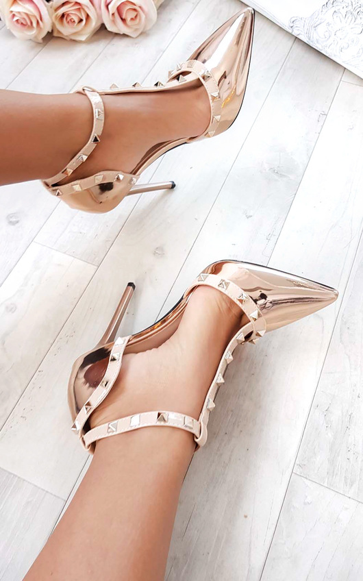 Kalah Chrome T-Bar Studded Court Heels