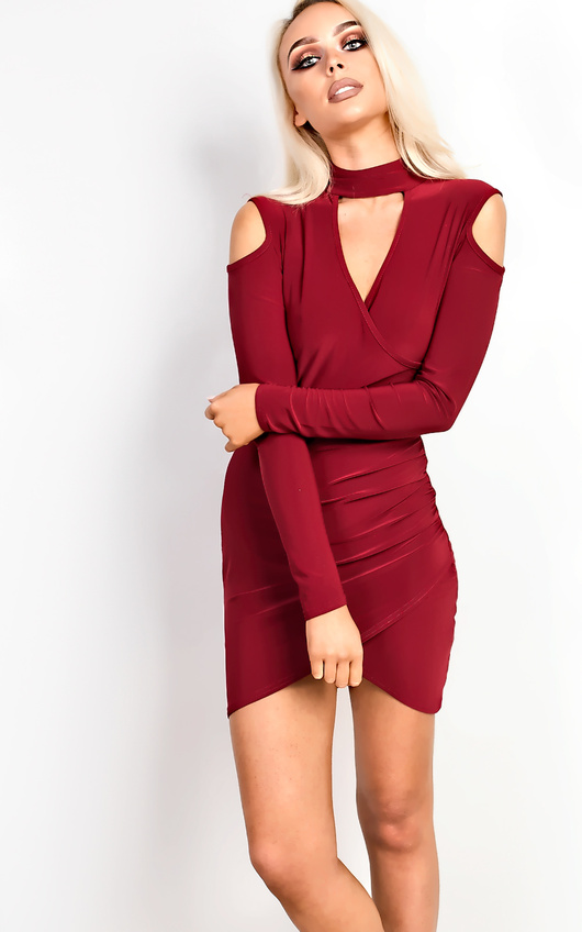 Alessandra Cold Shoulder Gathered Bodycon Dress