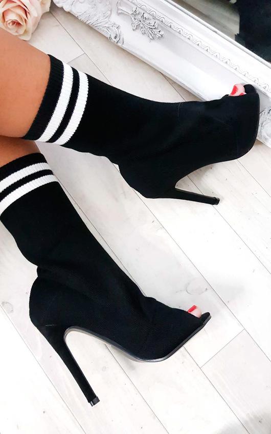 Amara Peep Toe Stiletto Sock Boots