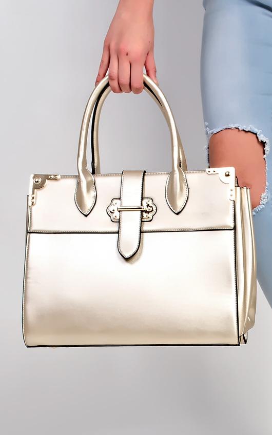 Cordillia Gold Buckle Faux Leather Tote Bag