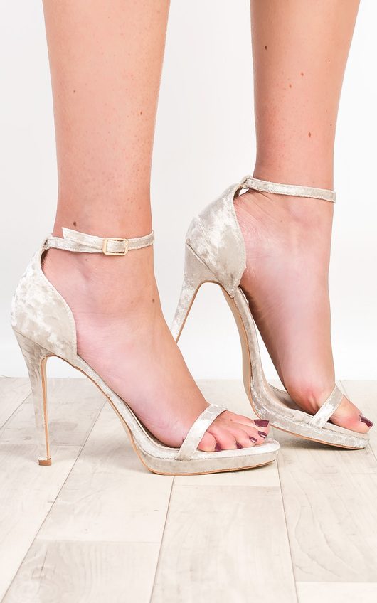 Aleah Crushed Velvet Barely There Heels