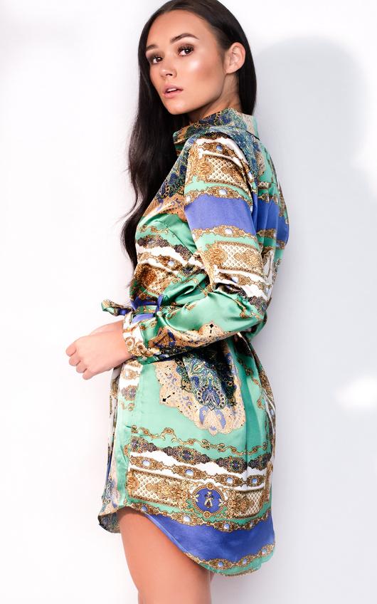 d4bfe3866ec1 Kyra Paisley Print Satin Shirt Dress in Green   ikrush