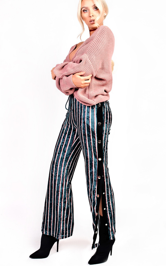 Lexie Velvet Popper Legged Stripe Trousers