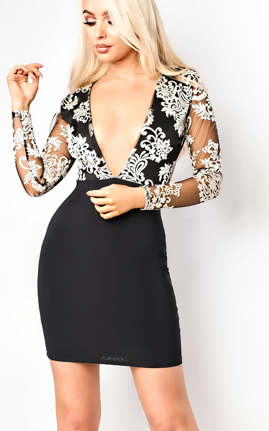Karina Deep Plunge Bodycon Dress