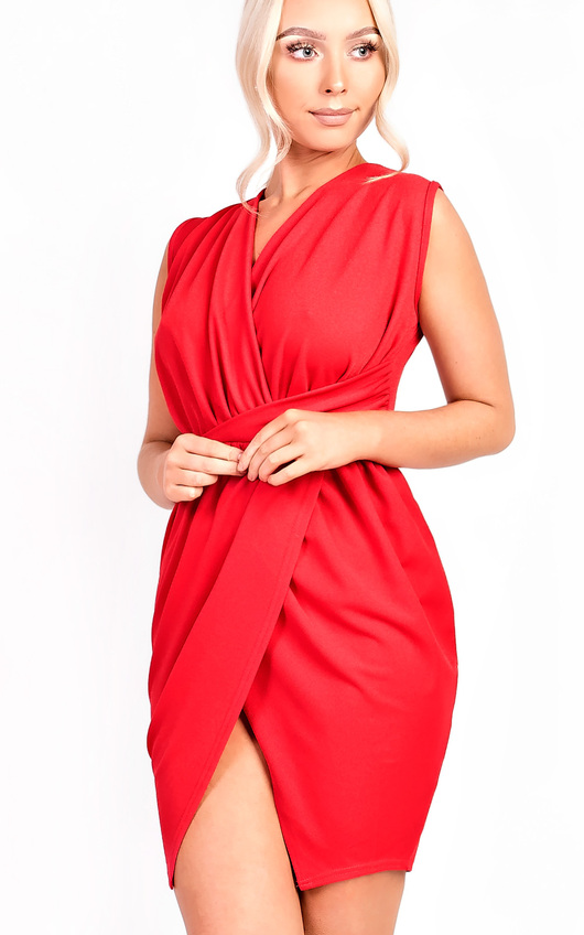 Kora Gathered Wrap Bodycon Dress