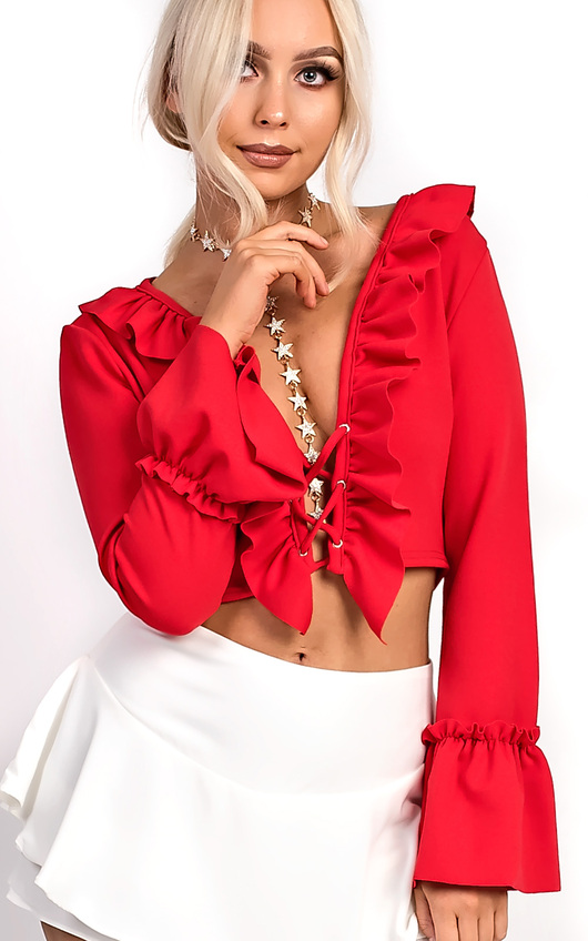 Styla Tie Front Bell Sleeve Crop Top