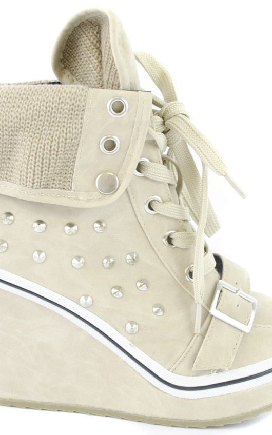 Cheryl Stud Lace Up Trainer Wedges