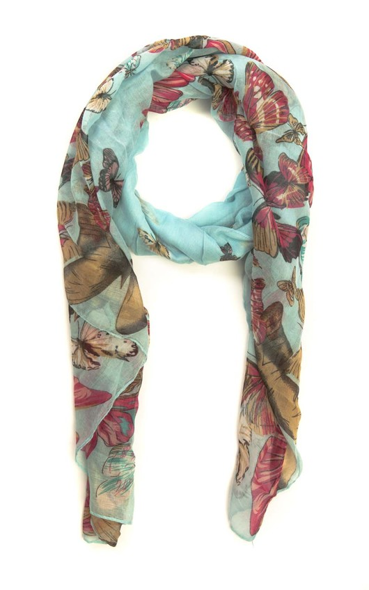 Anisa Butterfly Print Scarf in Light Blue