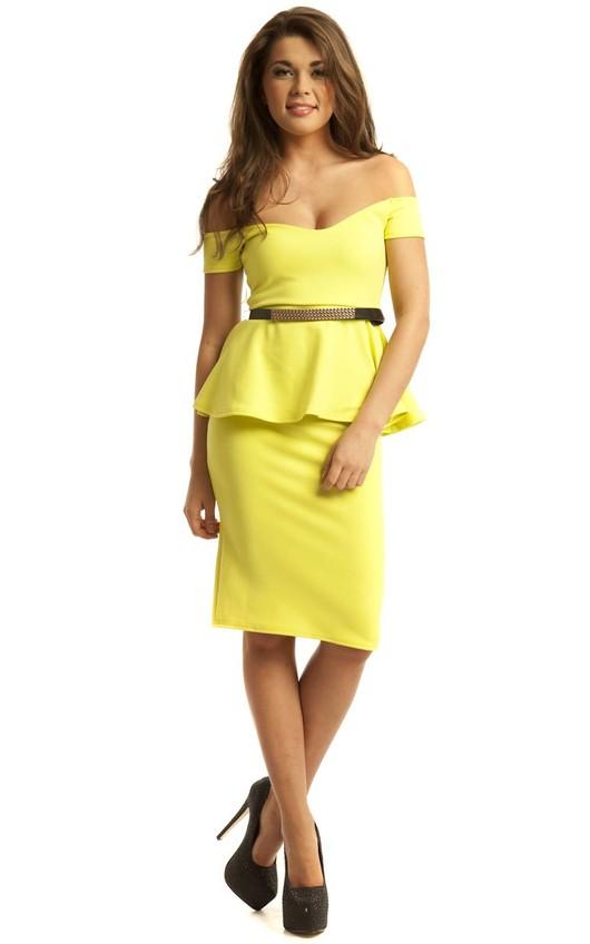 Jayne Peplum Midi Bodycon Dress