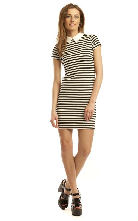 Daisy Collar Stripe Shift Dress