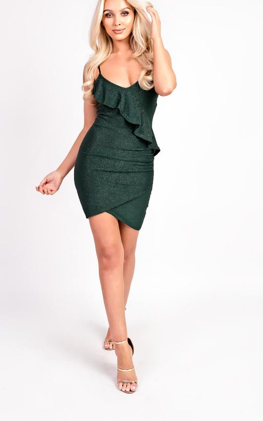 Rosie Cami Shimmer Bodycon Frill Dress