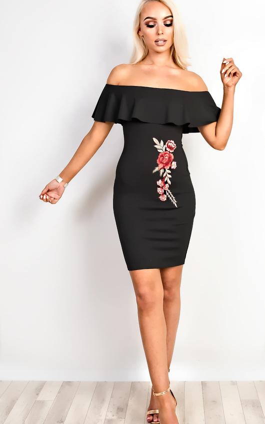 Ella Floral Off Shoulder Bodycon Dress