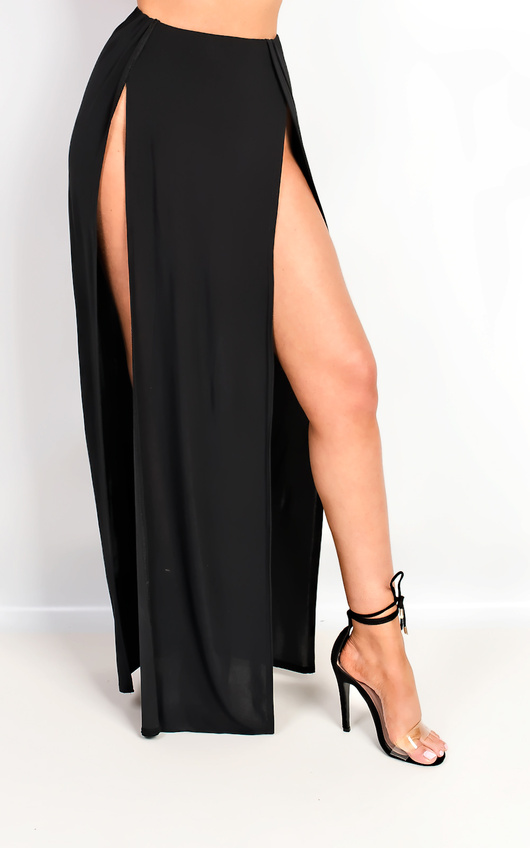 Lovato Double Thigh High Split Maxi Skirt