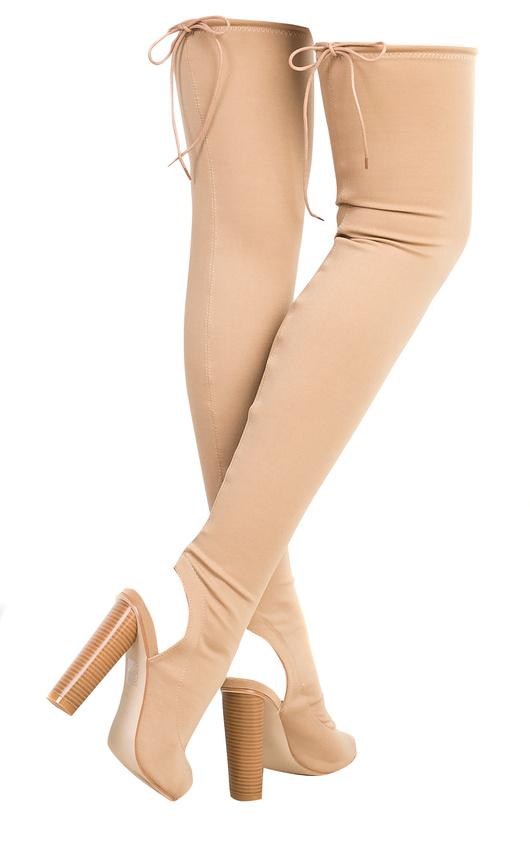 b68d1a295 Kylie Peep Toe Knee High Boots Thumbnail
