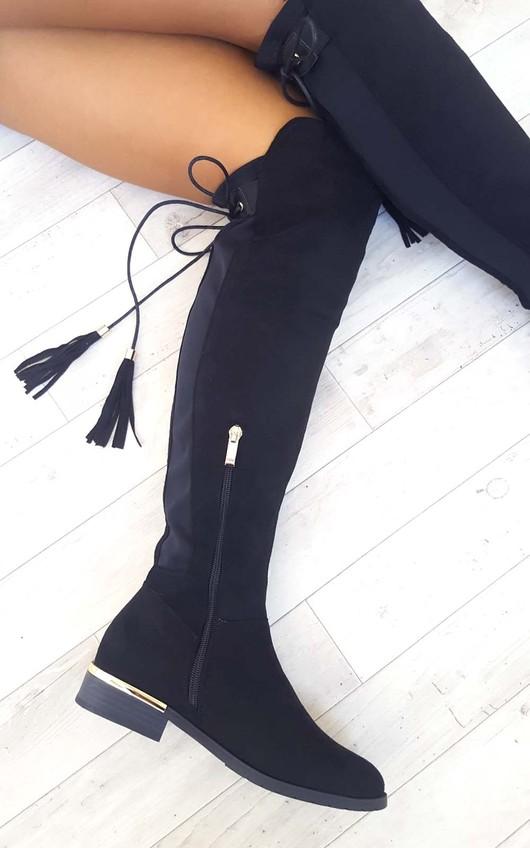 Raven Faux Suede Tie Tassel Knee High Boots