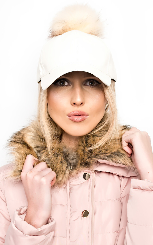 Riley Pompom Leather Hat