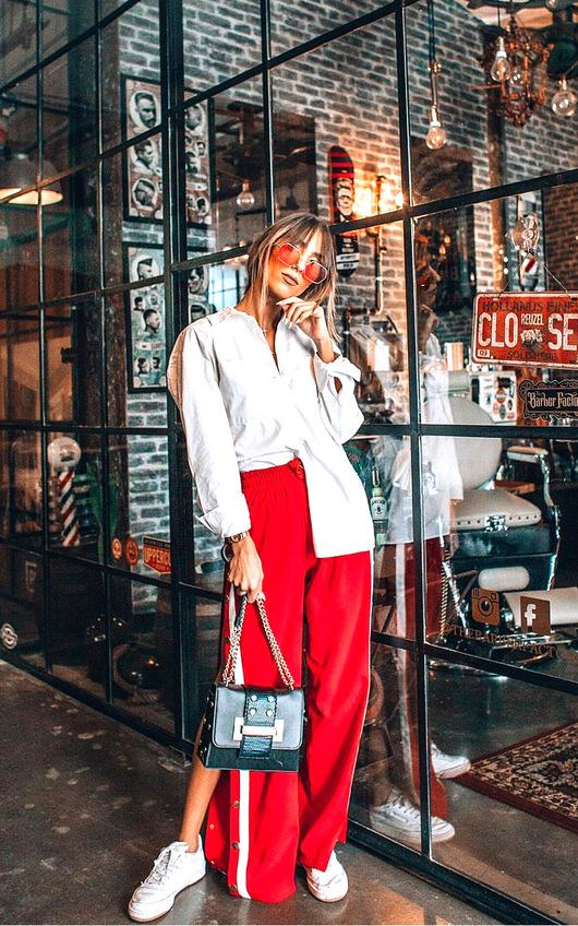 Erika Popper Legged Stripe Trousers