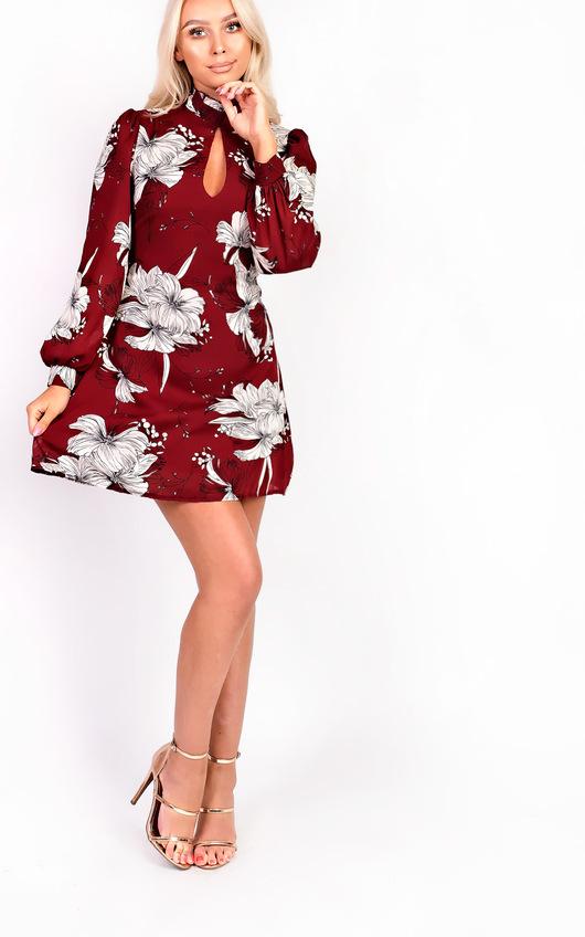 Amy High Neck Floral Dress