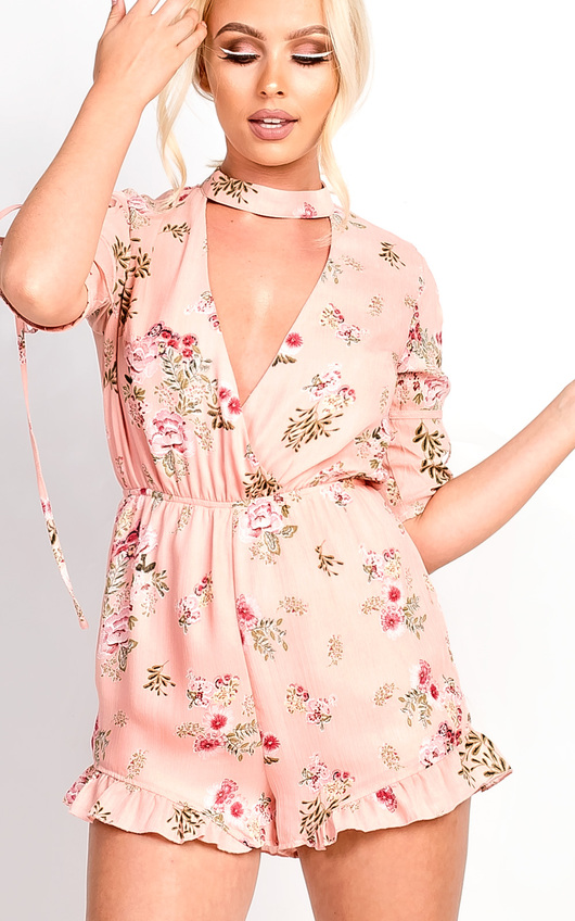 Cora Plunge Floral Frill Playsuit