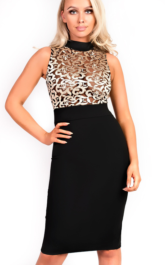 Nelli Embroidered High Neck Bodycon Dress