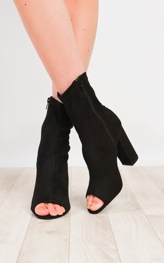 Brooke Faux Suede Heeled Ankle Boots