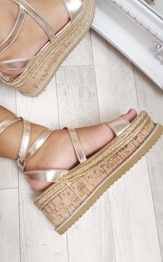 53297930899a Erynn Cork Strappy Rose Gold Wedges in Rose gold