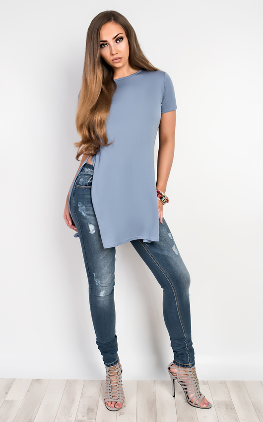 Zona Basic Side Split Casual Top