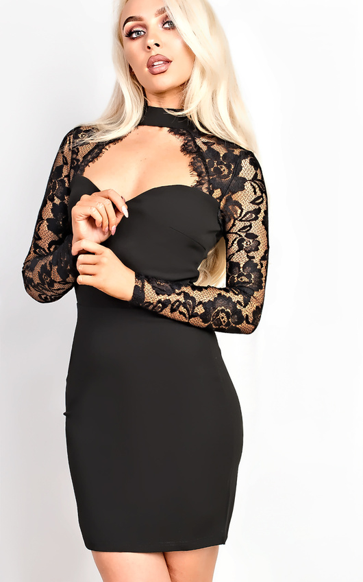 Luisa Lace Choker Neck Bodycon Dress