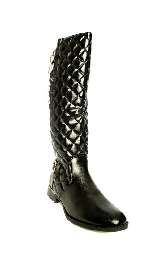 Priscila Quilted Knee High Buckle Boots