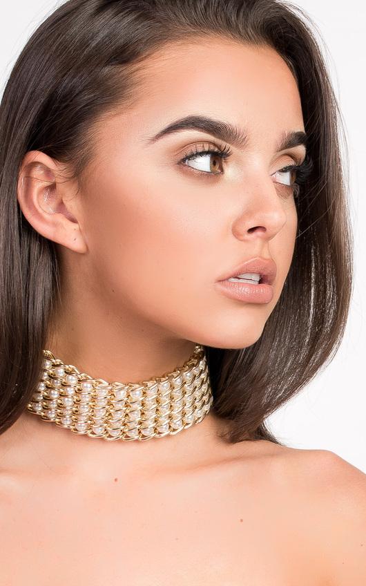 Mia Chain Pearl Choker Necklace