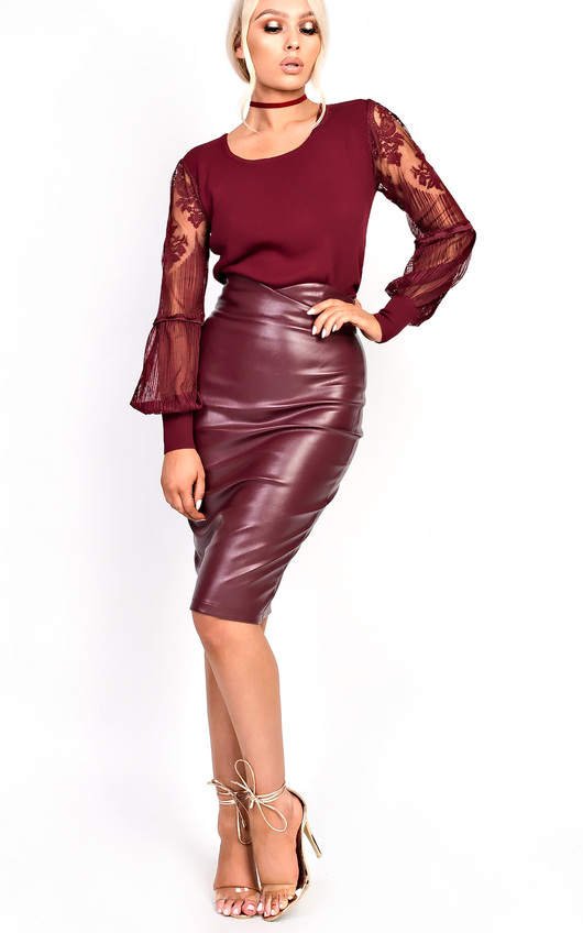 Raila Faux Leather Midi Pencil Skirt