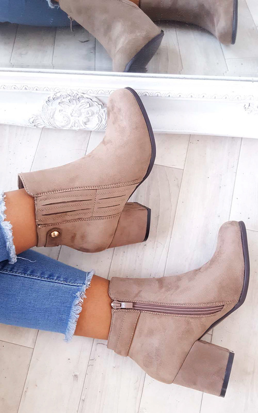 Klarissa Faux Suede Gold Button Ankle Boots