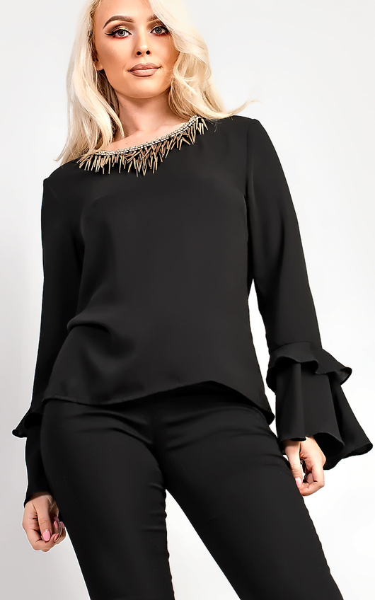 Lemy Flared Sleeve With Embellished Collar Blouse